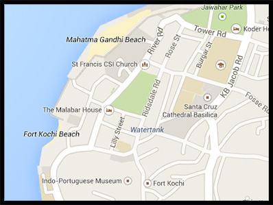 hotels Fort Cochin Map